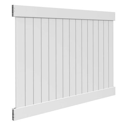White Vinyl Linden Pro Privacy Fence Panel Kit (Common: 6 ft. x 8 ft.; Actual: 68 in. x 91 in.)