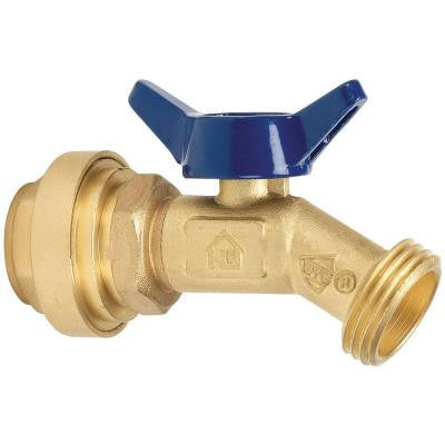 3/4 in. Brass Quarter Turn No Kink Hose Bibb Valve with Push-Fit Connections No Lead