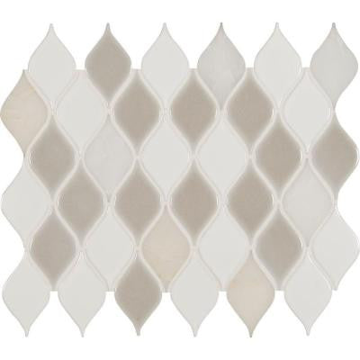 Cresta Blanco Leaf Pattern 12 in. x 12 in. x 8 mm Porcelain Stone Blend Mesh-Mounted Mosaic Tile (10 sq. ft. / case)