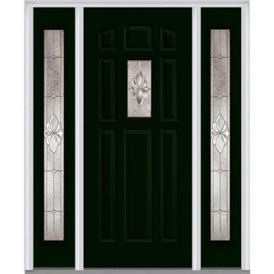 64 in. x 80 in. Heirloom Master Deco Glass 1/4 Lite Painted Builder's Choice Steel Prehung Front Door with Sidelites
