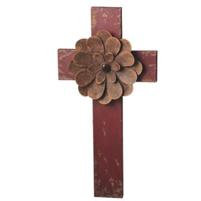 Sundry 20 in. Red Metal Wall Cross