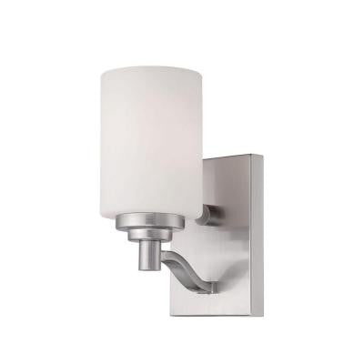 Satin Nickel Sconce with Etched White Glass