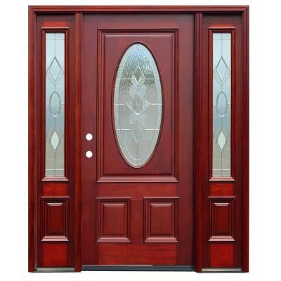 66in.x80in. Traditional 3/4 Oval Lite Stained Mahogany Wood Prehung Front Door w/6 in. Wall Series & 12 in. Sidelites