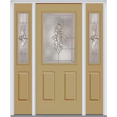 64 in. x 80 in. Heirloom Master Deco Glass 1/2 Lite Painted Builder's Choice Steel Prehung Front Door with Sidelites