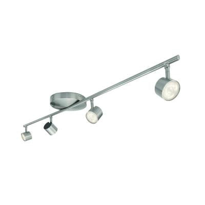 4-Light Nickel LED Integrated Track Lighting Fixture