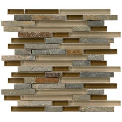 Tessera Piano Brixton 11-3/4 in. x 11-3/4 in. x 8 mm Glass and Stone Mosaic Wall Tile