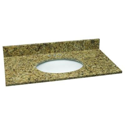 37 in. W Granite Vanity Top in Venetian Gold with White Bowl and 4 in. Faucet Spread