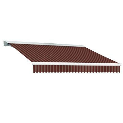 20 ft. DESTIN EX Model Left Motor Retractable with Hood Awning (120 in. Projection) in Burgundy and Tan Stripe
