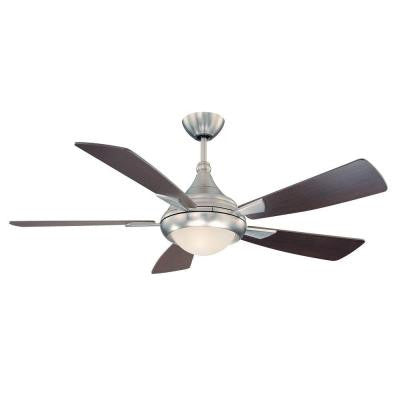 54 in. Satin Nickel Ceiling Fan with White Glass Shade