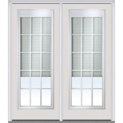 72 in. x 80 in. Classic Clear Low-E Glass 15 Lite Fiberglass Smooth Prehung Right-Hand Inswing RLB GBG Patio Door