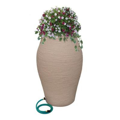 85 Gal. Sandstone WaterUrn Decorative Urn Rain Barrel Kit with Integrated Planter