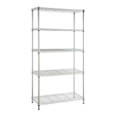 5-Shelf Steel Storage Unit in Chrome