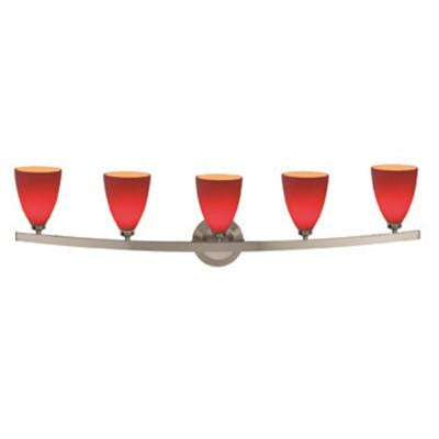 Sydney 5-Light Matte Chrome Vanity Light with Red Glass Shade