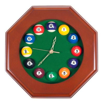 12 in. Octagonal Billiards Quartz Dark Wood Wall Clock