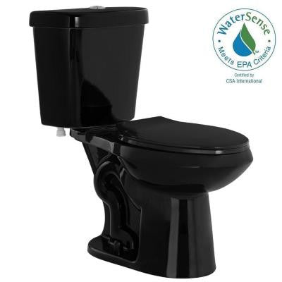 2-piece 1.1 GPF/ 1.6 GPF High-Efficiency Dual Flush Elongated Toilet in Black