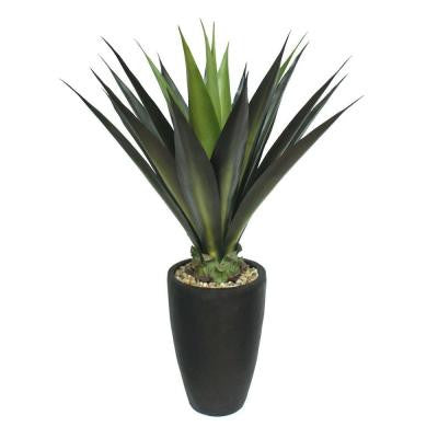 44 in. Tall High End Realistic Silk Giant Aloe Plant with Contemporary Planter