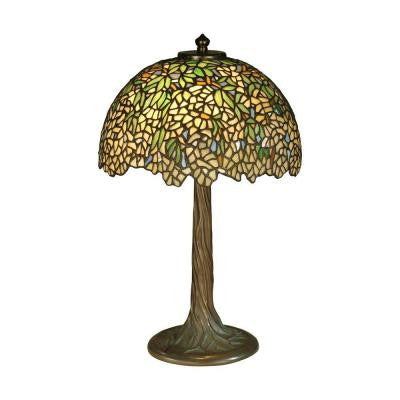 17 in. Antique Bronze Verde Wisteria Art Glass Table Lamp