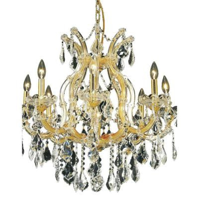 9-Light Gold Chandelier with Clear Crystal