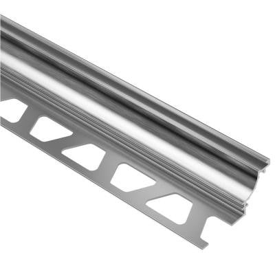 Dilex-AHK Brushed Chrome Anodized Aluminum 3/8 in. x 8 ft. 2-1/2 in. Metal Cove-Shaped Tile Edging Trim