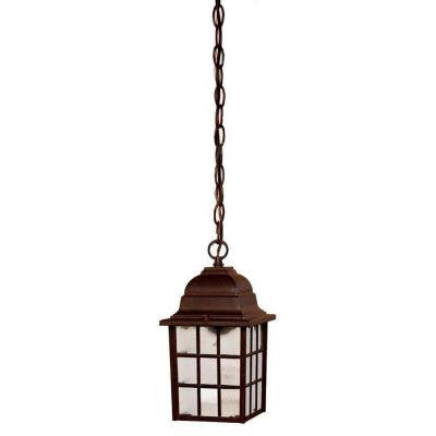 Nautica Collection Hanging Lantern 1-Light Outdoor Burled Walnut Light Fixture