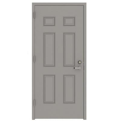 32 in. x 80 in. Gray Right-Hand 6-Panel Security Steel Prehung Commercial Door with Welded Frame