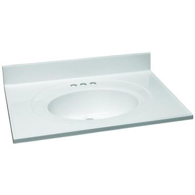 31 in. W Cultured Marble Vanity Top in White with Solid White Bowl