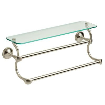 18 in. Double Towel Bar in Brushed Nickel with Glass Shelf