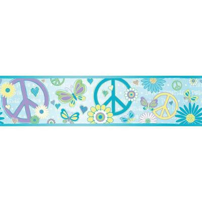 6 in. Love Child Blue Peace and Love Border
