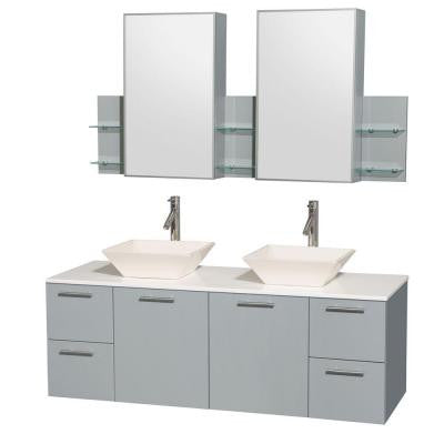 Amare 60 in. W x 22.25 in. D Vanity in Dove Gray with Solid-Surface Vanity Top in White with Bone Basins and Cab Mirror