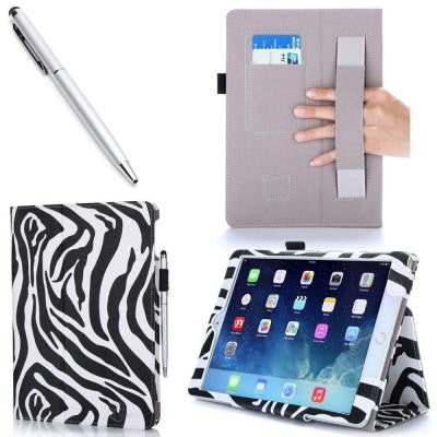 1 Fold Lather Case for iPad Air 2 - Zebra