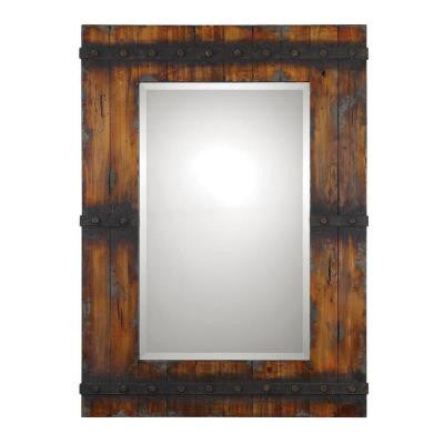 43.25 in. x 31.75 in. Mahogany-Brown Rectangle Framed Mirror