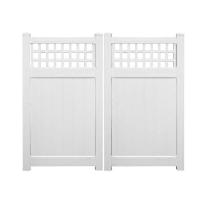 Tacoma 7.4 ft. x 6 ft. White Vinyl Privacy Double Fence Gate