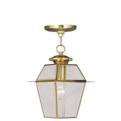 Providence 1-Light Hanging Outdoor Polished Brass Incandescent Lantern