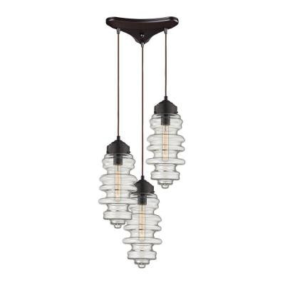 Cipher 10 in. 3-Light Oil Rubbed Bronze Pendant