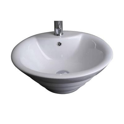 19-in. W x 19-in. D Above Counter Round Vessel Sink In White Color For Single Hole Faucet