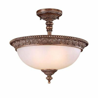 2-Light Bronze Semi-Flush Mount Light