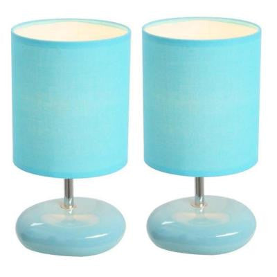 10.5 in. Blue Stonies Small Stone Look Table Bedside Lamp 2 Pack Set