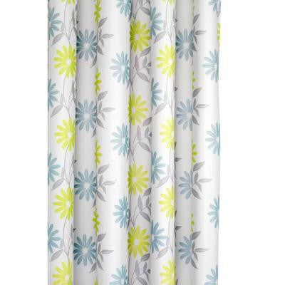 70-7/8 in. Scribble Flower Shower Curtain in Green/White