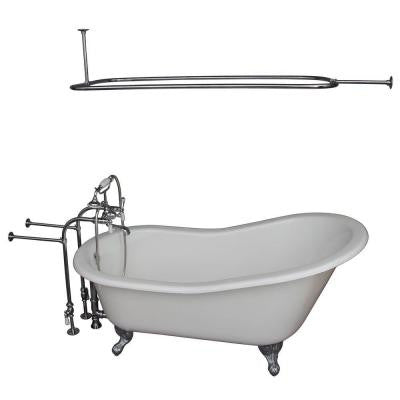 5 ft. Cast Iron Ball and Claw Feet Slipper Tub in White with Polished Chrome Accessories