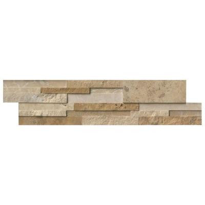 Casa Blend 3D Multi Finish Ledger Panel 6 in. x 24 in. Natural Quartzite Wall Tile (10 cases / 80 sq. ft. / pallet)