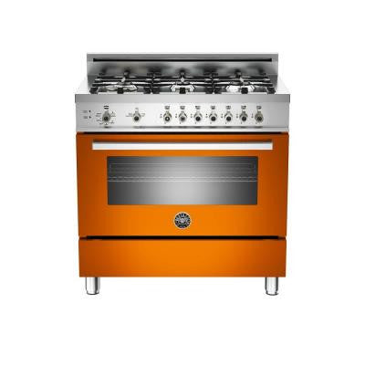 36 in. 4.4 cu. ft. Gas Range with Manual-Cleaning Convection Oven in Orange