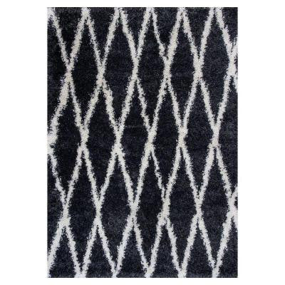 Trellis Shag Black 5 ft. 3 in. x 7 ft. 7 in. Area Rug