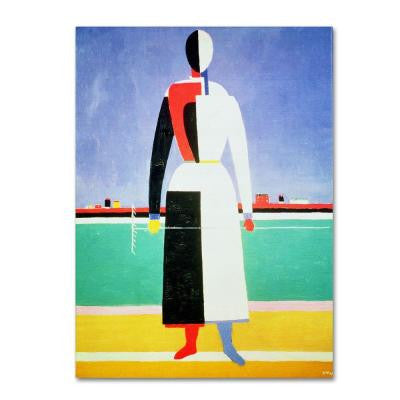 47 in. x 35 in. Woman with Rake Canvas Art