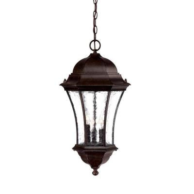 Waverly Collection Hanging Lantern 3-Light Outdoor Black Coral Light Fixture