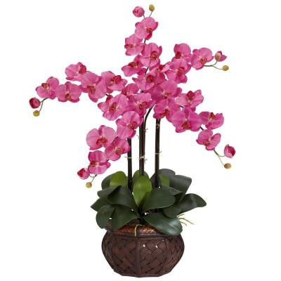31 in. H Dark Pink Phalaenopsis with Decorative Vase Silk Flower Arrangement