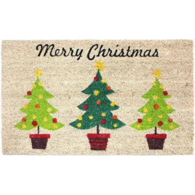 Christmas Trees Vinyl Back Coco 18 in. x 30 in. Door Mat