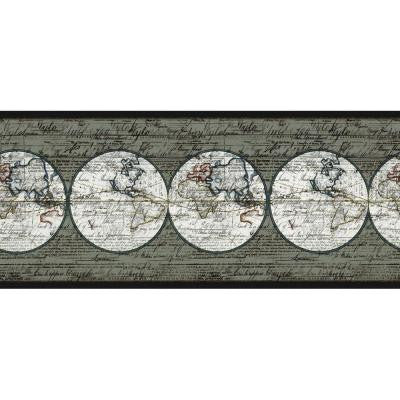 9 in. x 15 ft. Black and White Maps Border