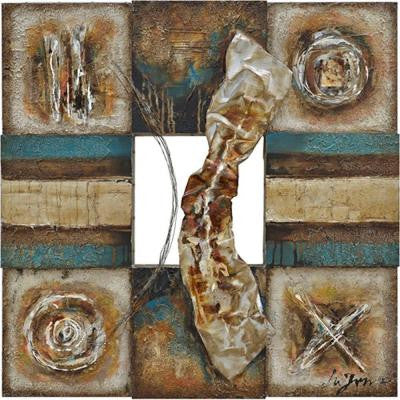 "35 in. x 35 in. ""Lustrous Metal I"" Contemporary Artwork"
