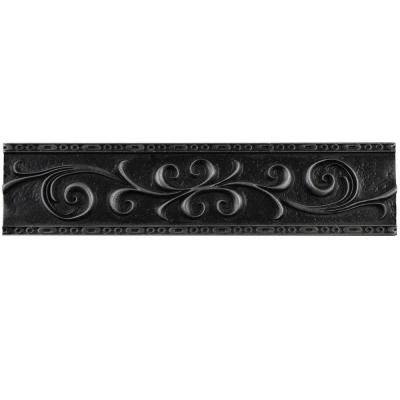 Contempo Scroll Liner Wrought Iron 3 in. x 12 in. Metallic Wall Trim Tile