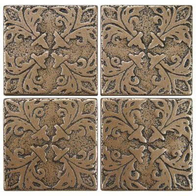 Contempo Bouquet Bronze 2 in. x 2 in. Tozetto Medallion Floor and Wall Insert Tile (4-Pack)